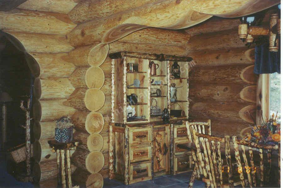 Interior Shot Of A Custom Log Home Canadian Doug Fir